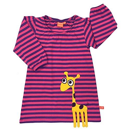 LIPFISH Mädchen Kleid Langarm Pink Violett Lila 3-D Applikation Giraffe BioBaumwolle - Größe: 98
