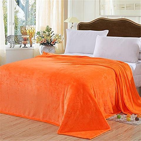 hhyws Couvre-lit doux et chaud Canapé Couverture Pure Color épais en flanelle 200* * * * * * * * 230cm Orange,