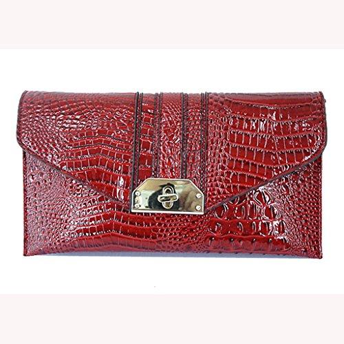 modelli femminili nuovi femminile borsa borsa a mano Europa e in America marea coccodrillo di moda sera pochette Messenger piccola borsa ( Colore : Blu ) Burgundy