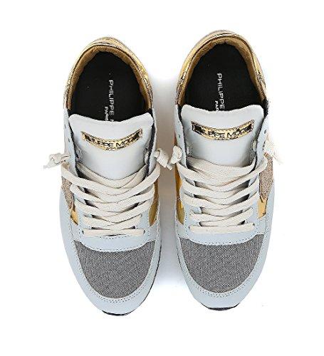 Sneakers Philippe Model Tropez in pelle grigio chiaro e tessuto laminato Oro
