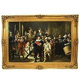 Riesiges Handgemaltes Barock Öl Gemälde Rembrandt Nachtwache Gold Prunk Rahmen 220 x 160 x 10 cm - Massives Material