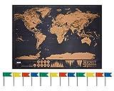 Anokay Mappa da Grattare - Grande Mappa del Mondo da Grattare - Poster Mondo XXL Traccia del Viaggio 82 x 60 cm / Regalo Creativo per Viaggiatore ( 12 Bandiere da segnare Omaggio )