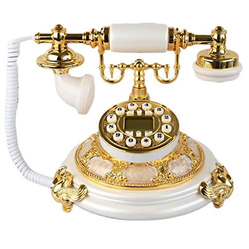 LPZ Weißgold-Jade-Telefon-Antike-Landanschluss benutzt für Büro-Familien-Dekoration LPZV (Farbe : White Gold) Landanschluss-kabel