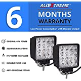 AllExtreme EX4ISFL 4 Inch LED Light Bar Square Pod Waterproof Flood Driving Light for Car, Off Road Truck, Pickup, Jeep, SUV, ATV and UTV (48W, Pack of 2)