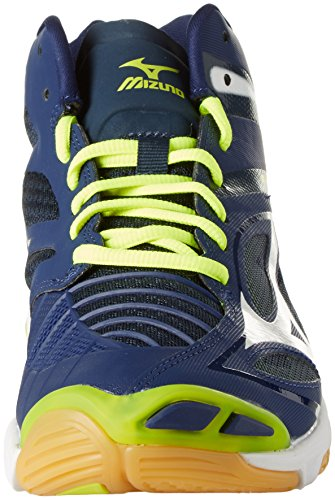 Mizuno Herren Wave Lightning Z3 Mid Volleyballschuhe, Bleu/Blanc/Jaune Blu (Blue Depths/White/Safety Yellow)