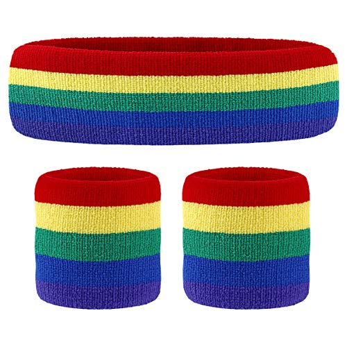 HOTER Sportline Handgelenk Band, Frottee Handgelenkband, Schweißband, Schweißband (Preis für 1Stück), A3-Rainbow(1Headband+2Wristbands)