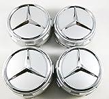 UG 4X Nabenkappen für Mercedes 75mm weiß Silber Klasse A B C CL CLK CLA E G GL M S SL und Andere - für Felgen Lega