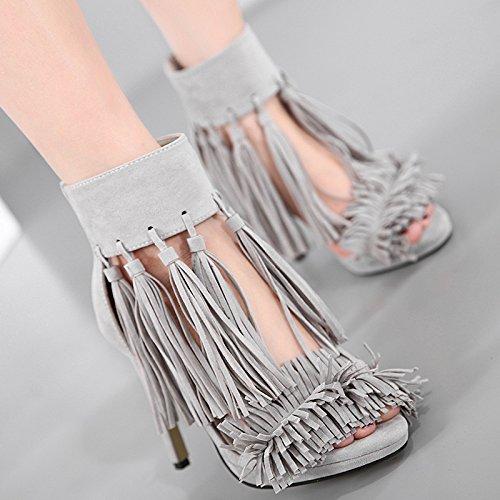 GS~LY Cadeau de fête des mères L'Europe et les États-Unis grand tassel sandals gray