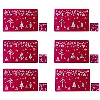 Fansport mantel individual navidad,Salvamanteles individuales Mantel Individual Antideslizante lavable de PVC para Resistente al Calor Manteles Lavables Salvamanteles (Set de 6 manteles)