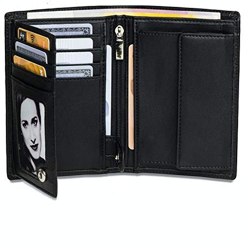 Noah Noir® Geldbeutel Hochformat - TÜV geprüfter RFID Schutz - Großes Münzfach Herren - Geldbörse groß mit Edler Geschenkbox - Monkey (Schwarz)