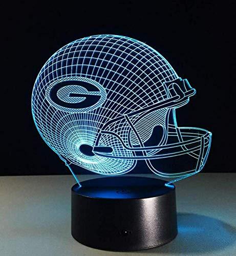 ndleuchte Led Lampe 3D Lampe Fußball Green Bay Packers Helm Led Lampe 7 Farbwechsel Tischlampe Bunte 3D Nachtlicht Kinder Küche Schlafzimmer Wohnzimmer ()