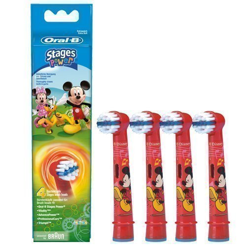 Braun Oral-B Stages Power Kids Aufsteckbürsten Micky Maus 4er Pack Bürstenköpfe Kinder EB10-4K Mickey Mouse