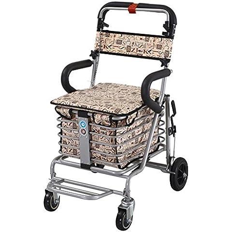 Plegable compras carro Lron mayores compras y ocio puede ser mano a ayudar a doble cesta plegable carro con ruedas giratorias , gray