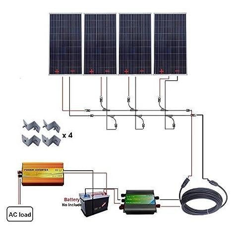 Eco-Worthy 4x 160W 600W 12V Off Grille Système solaire W/220V Inverter pour véhicule Bateau Home RV