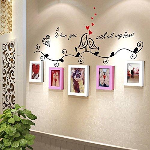GFF 5 Box Liebe Vogel Kleine Wand Mädchen Schlafzimmer Schlafsaal Wand Kreative Massivholz Foto Wand Dekoration Foto Wand Sofa Hintergrund wanddekoration (Farbe: # 3)
