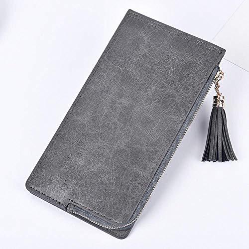 Olydmsky Damenbörse, Öl Wachs Leder Geldbörse Damen große Multi-Card-Bit Pack Double Zip Kartentelefon Tasche Pu-Leder 19 * 11 * 1 cm -