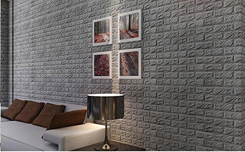 3D WandAufkleber ,Bovake PE-Schaum 3D-Tapete DIY Wand-Aufkleber-Wand-Dekor prägeartiger Ziegelstein-Stein (Gray)