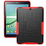 XITODA Samsung Galaxy Tab S2 9.7 LTE Hülle, Tough Rugged Shockproof Hybrid Kickstand Protection Back Cover Case mit Stand für Samsung Galaxy Tab S2 9.7 Zoll SM-T810 T815 T813 T819 Tablet - Rot