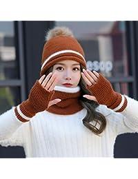 YSFU cappello sciarpa guanti donna Berretto da Cappello Femminile Autunno E  Inverno Cappello Bavaglino Guanti Tre 92b213e5b32a