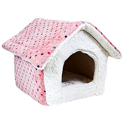 Charles Bentley Pink Polka Dot Sot Pet Bed House Cave Cats Small Dogs MACHINE WASHABLE H47 xL39 x D52cm