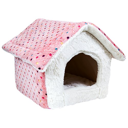 charles-bentley-pink-polka-dot-sot-pet-bed-house-cave-cats-small-dogs-machine-washable-h47-xl39-x-d5