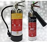 Designer Chrom Set Feuerlöscher. 6Ltr Schaumstoff + 2kg CO2Feuerlöscher. CE. Ideal für Haushalte Küche Arbeitsplatz Büros Werkstatt Lager Garagen Hotels Restaurants