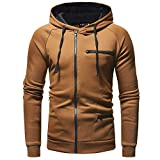 CLOOM Herren Kapuzenpullover Herren Sweatjacke Hoodie mit Kapuze Tops Langarmshirt Outwear Jacke Kapuze Sweatshirt Herren Winter Warme Hoodie Pulli Wintermantel Kapuzenjacke(Khaki,Medium)