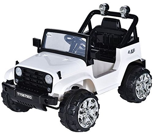 K&A Company K&A Company 12v Kids Ride Truck Jeep Car Rc Remote Control with Led Lights Music Mp3 White