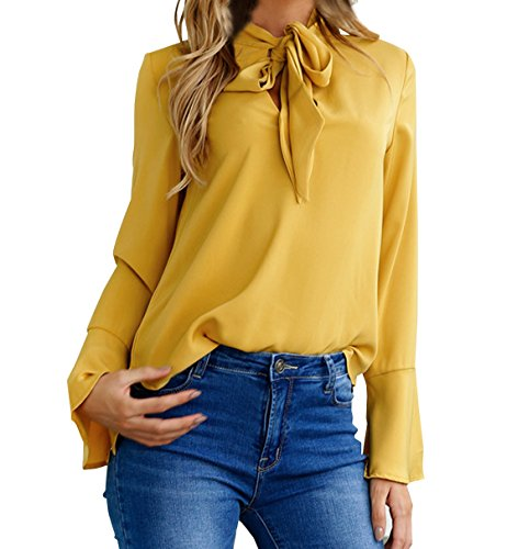Herbst Neue einfarbig Shirts Damen V-Ausschnitt Schnürung Blusen Tops Langarmshirts Hemden Oberteile Baggy Blouse Tuniken, Senfgelb, Herstellergr. S (T-shirt V-neck Junge Damen)