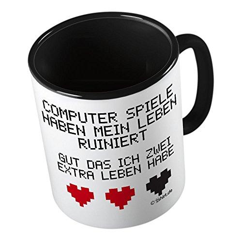 Computer Spiele haben mein Leben ruiniert ★ lustige Tasse - Kaffeetasse - Kaffee-Pott ★ hochwertig bedruckt mit lustigem Spruch ★ Die perfekte Geschenk-Idee