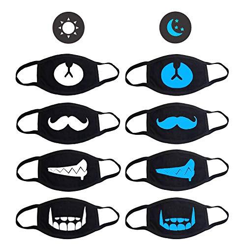 Baumwolle Maske, 6 Stück Motten Maske Wiederverwendbar Mundschutz Anti-Beschlag Mundmaske Anti Staub Wind Gesicht Mundmaske, Schwarz