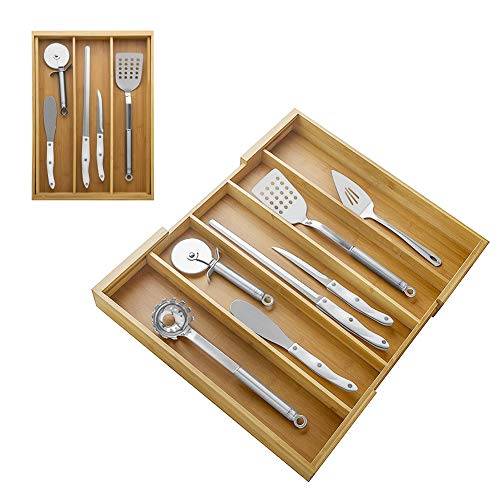 Erweiterbarer Schubladen-Organizer, Bambus Verstellbares Besteck/Utensil Tray Schubladen-Trennwände für Küche, 5 Fächer Besteck Utensil