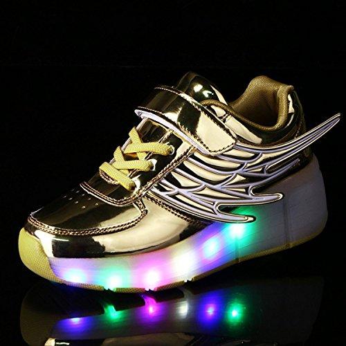 Aidonger Unisex Erwachsene Kinder Engel-Flügel Form Skateboard Schuhe 7 Farbe Farbwechsel LED Leuchtend Sneaker Turnschuhe Gold