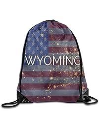 Preisvergleich für Vilico Wyoming State Flag Funny Gym Kordelzug Tasche Reise Rucksack Tote Schulrucksack