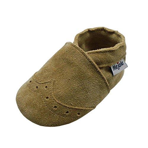 Mejale Weiche Sohle Leder Babyschuhe Lauflernschuhe Krabbelschuhe Kleinkind Kinderschuhe Hausschuhe(Khaki,18-24 Monate)