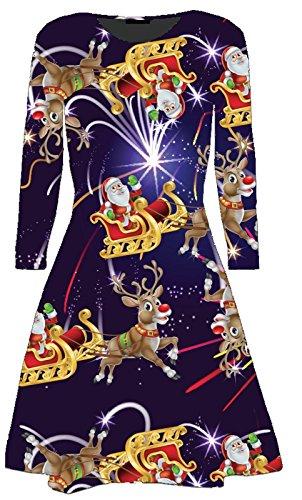 fb2d47421ed ... Women Ladies Xmas Print Christmas Festive Snowman Santa Gifts Bell  Reindeer Tree Long Sleeve Round Neck Swing Flared Party Skater Dress Top Plus  Size ...