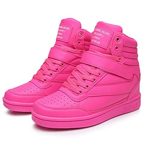 UBFEN Damen Schuhe Sneakers Wedges Keilabsatz 7cm Sportschuhe Stiefel Knöchel Klettverschluss High Top Casual Stiefeletten Lässige Weiß Schwarz Pink Pink