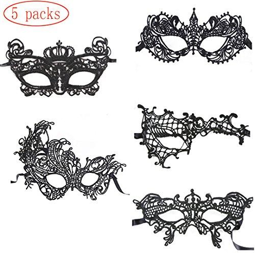 HLZDH 5 Stück Schwarz Maskerade Maske Sexy Spitze Augenmaske Venezianische Augenmaske Spitze Mask Frau Augen Maske Halloween Karneval Maskentanzabend Party (5 - 5 Stück Sexy Damen Kostüm