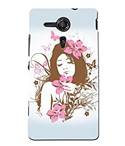 Fuson Butterfly Pattern Girl Back Case Cover for SONY XPERIA SP - D4067