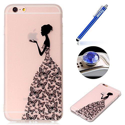 iPhone 6 Plus Coque iPhone 6S Plus Coque en Transparent,iPhone 6 Plus Coque en Silicone,ETSUE iPhone 6S Plus TPU Coque Crystal Cristal Clear Case Transparent avec Belle Funny Fleur Papillon Citron Pas # Élégant Fille
