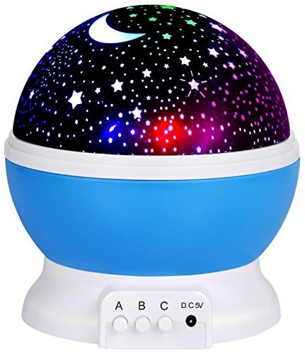 Romote lámpara de luz Nocturna, Estrellas proyector romántico Luz Nocturna LED Giro de 360Grados 4LED Lámparas 9Color de luz con Cable USB para Bodas, cumpleaños, Fiestas, niños