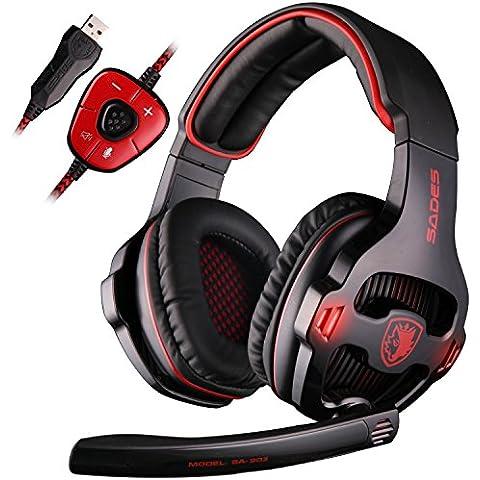 SADES SA903 7.1 Surround Sound Stereo Pro USB de la PC Gaming Headset Auriculares diadema con micrófono Deep Bass Over-the-Ear Control de Volumen LED Luces para jugadores de PC