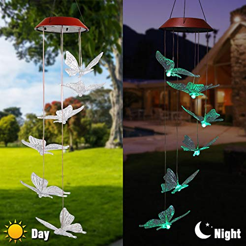 Shiningbaby Bunte ändernde geführte Solarwindspiel-helle Hausgarten-helle Dekor-Libelle-Schmetterlings-Kolibri-Entwurf
