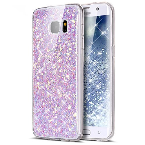 Cover Samsung Galaxy S6 Edge,Custodia Samsung Galaxy S6 Edge,KunyFond Crystal Clear Protettiva Case Custodia 360 Gradi di Protezione Completa Morbida Gel Custodia Silicone Tpu Copertura Trasparente Ma viola chiaro chiaro