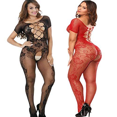 Amoure 2 Pack Damen Unterwäschen Reizwäsche Netz Strumpfhose Bodystockings Hohle Blumen Frauen Bodysuit Nachtwäsche Dessous (Schwarz+Rot)
