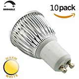 SmartSun Dimmable Long Neck GU10 6W LED Spotlight Beautiful 3000K Warm White Bulb 50W Halogen Equivalent,60°Beam Angle,Ultra Bright LED Light Bulbs,For Ceiling Lighting,Tracking Lighting or Recessed Lighting,Pack of 10