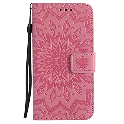 LG Nexus 5X Case, Chreey New [Embossed Sun Blossom] Leather Flip Phone Case / Cover / Skin [Pink] + Wallet Card Slots and Stand