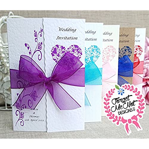 10 Personalised Handmade Gatefold Wedding Day Or Evening Invitation Cards  With Envelopes  Lots Of Ribbon Colours.