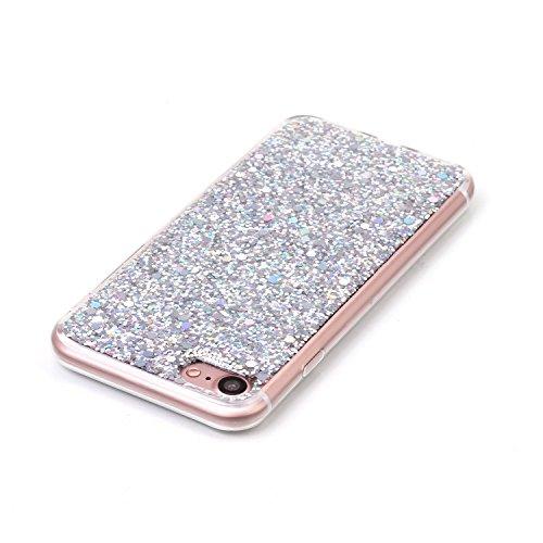 TPU Silikon für iPhone 7 4.7 Zoll,Glitzer Handyhülle für iPhone 7 4.7 Zoll,Funyye Luxuriös Rot Glänzend Bling Pailletten Kristall Durchsichtig Rahmen Shinning Glitter Gel Silikon TPU Hülle TPU Silikon Silber