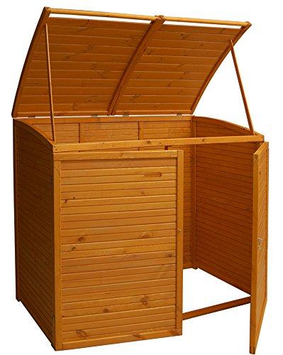 Andrewex Mülltonnenbox für 2Tonnen 156 x97 cm 240 Liter aus Holz Farbton:Pinie Mülltonnenschrank Mülltonnenverkleidung - 2